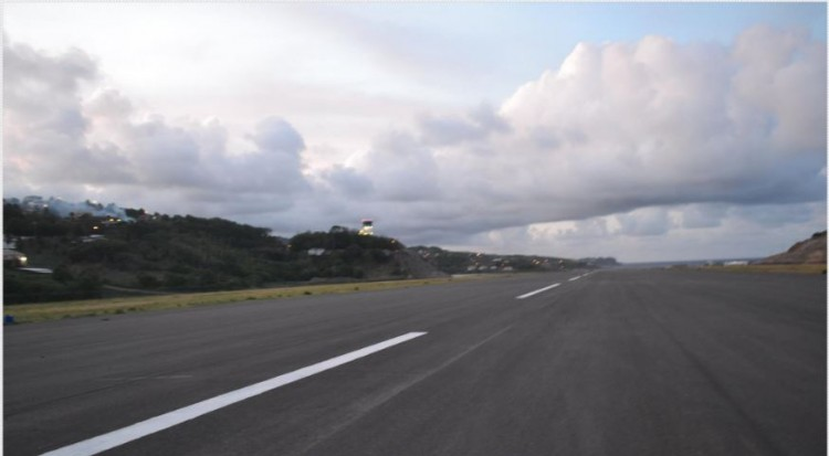 A section of the completed 1st kilometer of the Runway at the Argyle International Airport